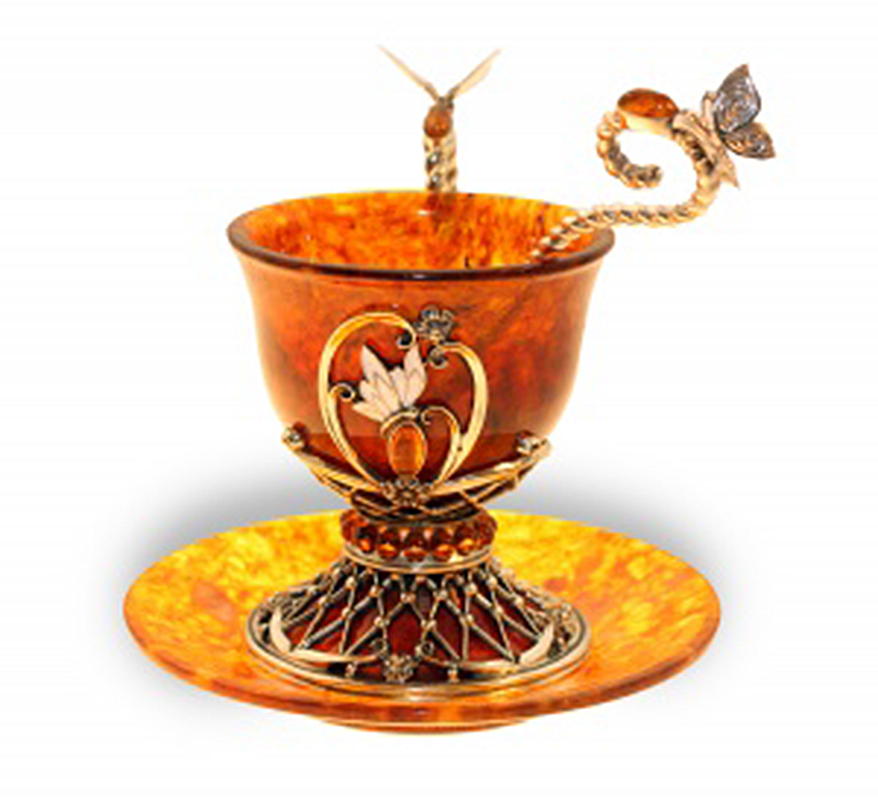 Utensils made of amber, buy a set of silver with amber Amber Palace in store